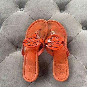 Tory Burch Miller flip flop sandals orange 7